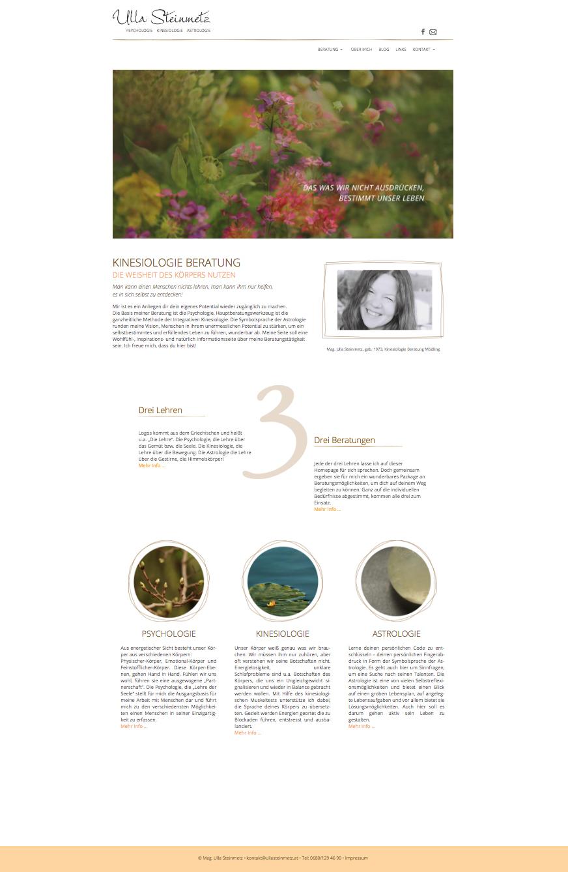 Screenshot Startseite - Webauftritt Ulla Steinmetz